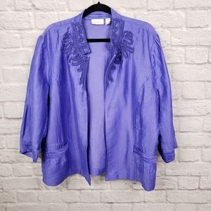Chicos Purple Embroidered Open Front Blazer Jacket